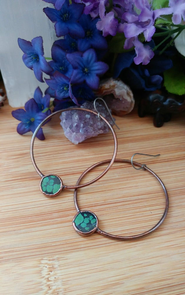 Image of Large Turquoise Hoops