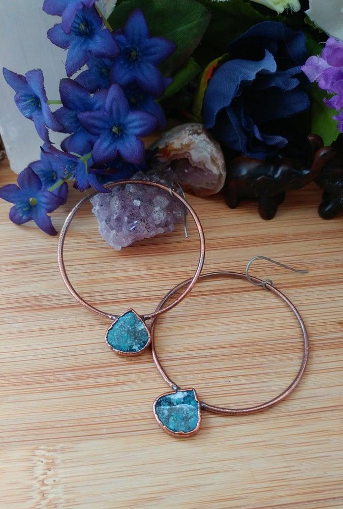 Image of Large Turquoise Hoop Earrings