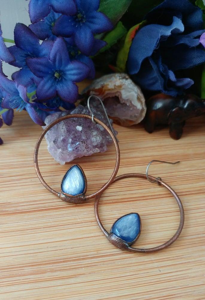 Image of Blue Kyanite Hoop Earrings