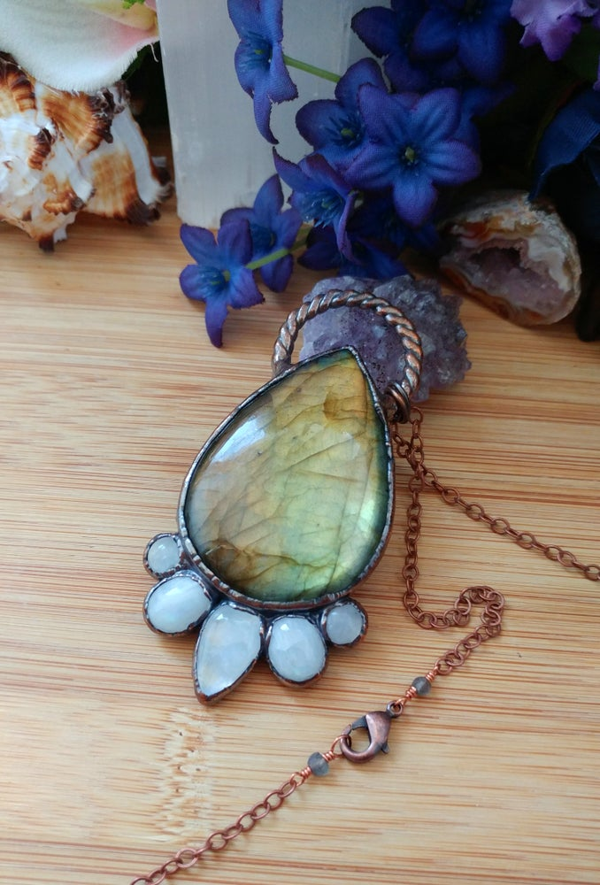 Image of Labradorite + Rainbow Moonstone Statement Pendant
