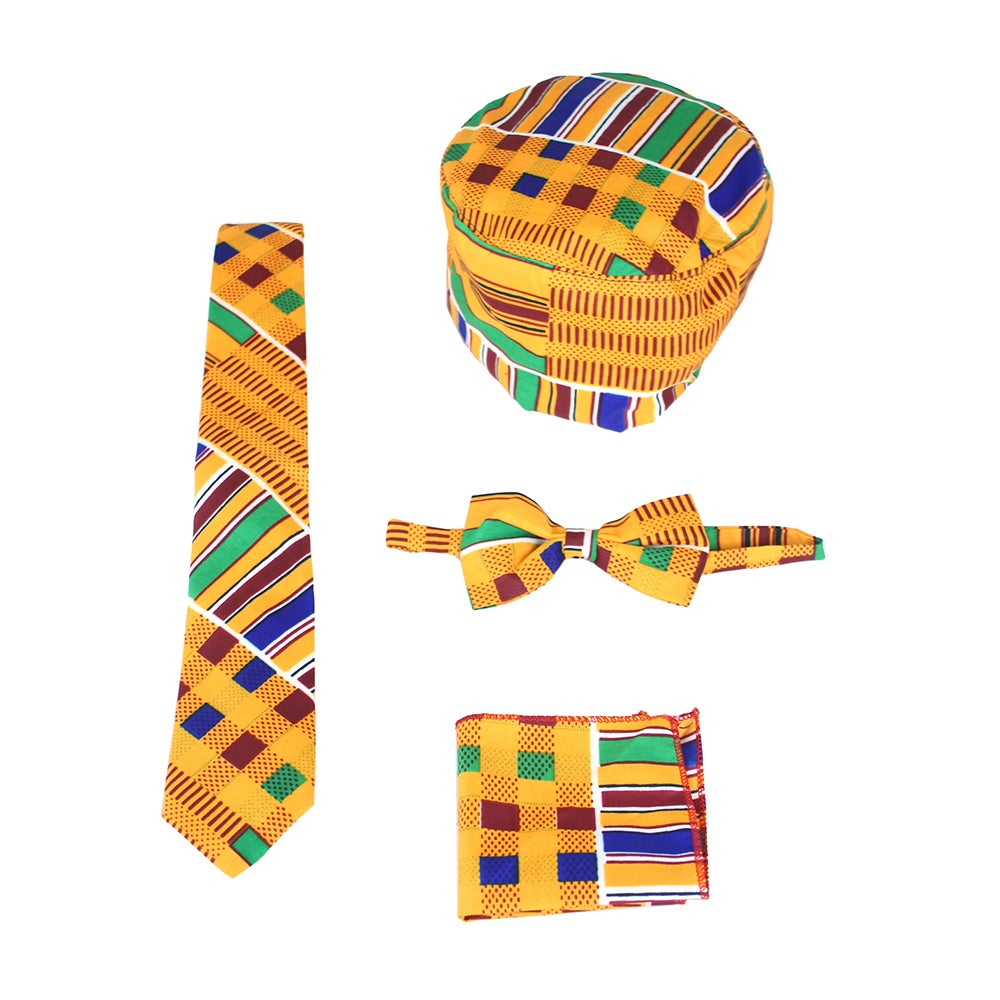 Image of Kente Tie/Bow Tie Set (YELLOW)
