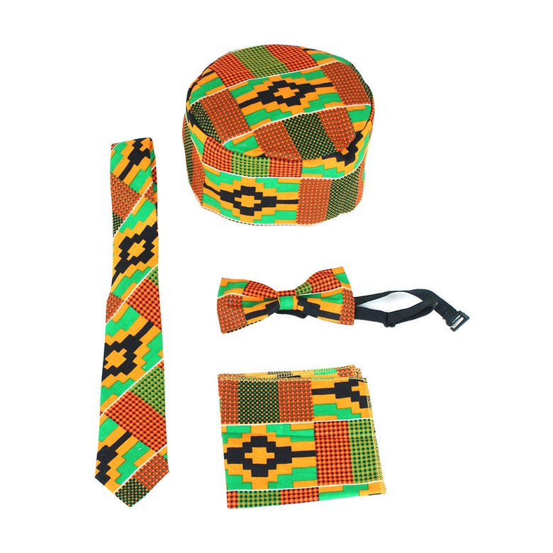 Image of Kente Bow Tie/Tie Set(ORANGE)