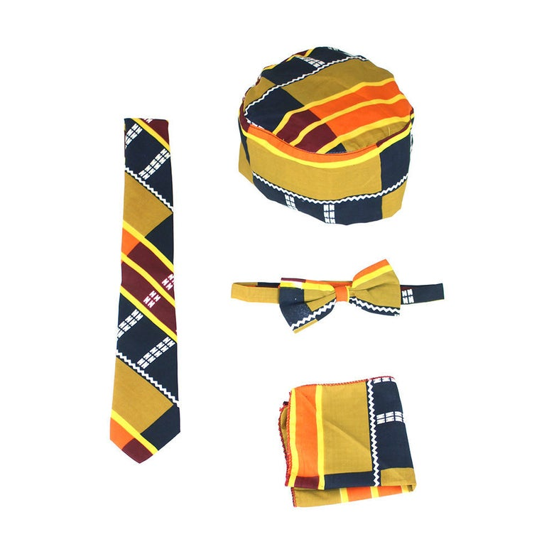 Image of Kente Bow Tie/ Ties Set (MUSTARD)