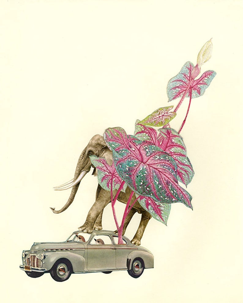 Image of Elephant Express. Limited edition collage print.