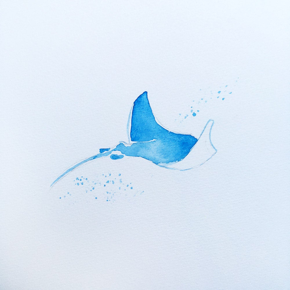 Image of Aquarelle de raie manta