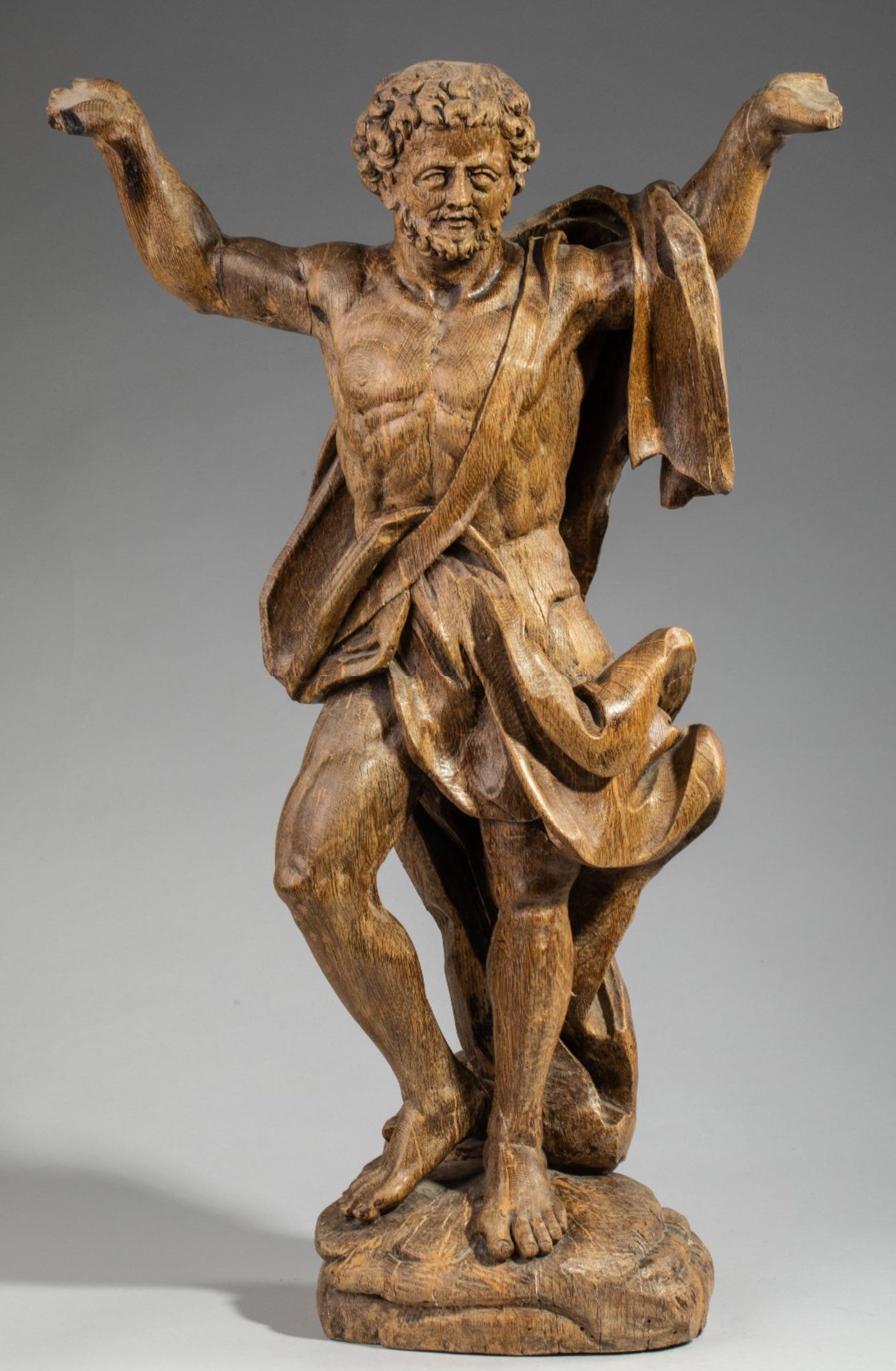 Image of A Large North European Late Baroque carved Oak figure of Atlas