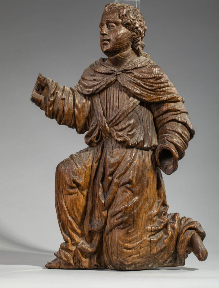 Image of A North European Renaissance carved Oak Angel
