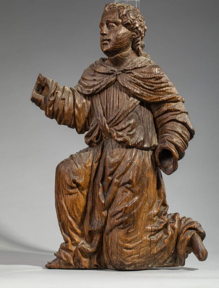 Image of A North European Renaissance carved Oak Angel