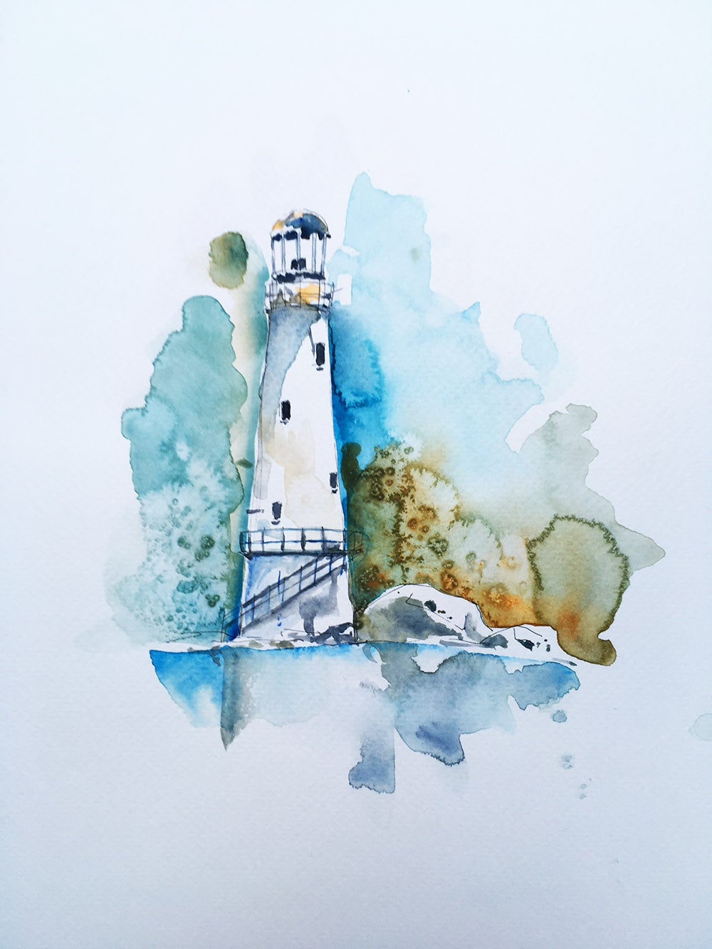 Image of Aquarelle d'un phare