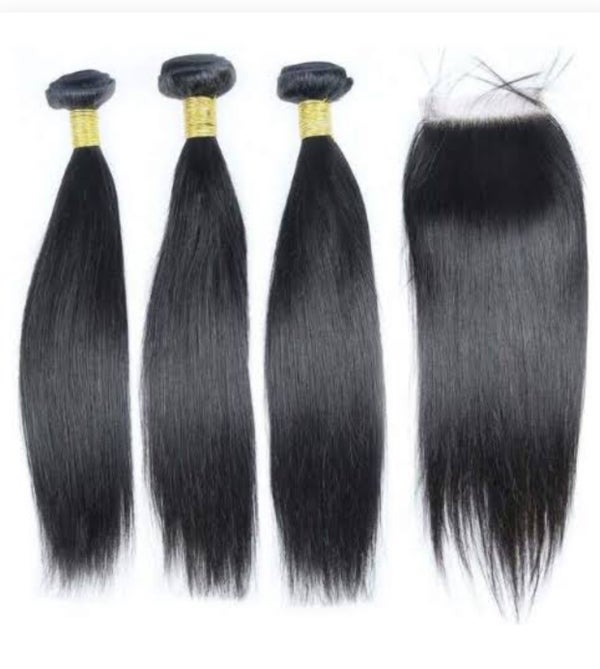 """Image of Straight hair 22""""24""""26"""" with closure"""