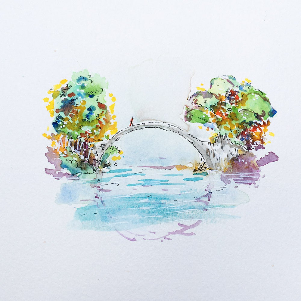 Image of Aquarelle d'un pont en pleine nature