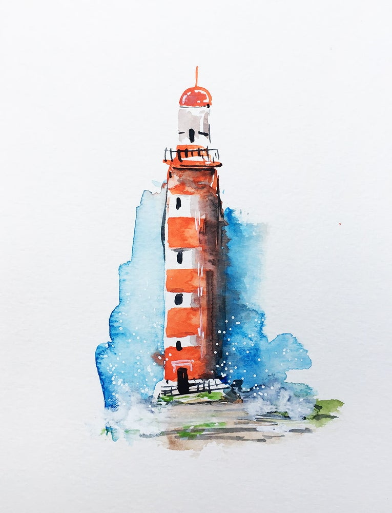 Image of Aquarelle d'un phare rouge