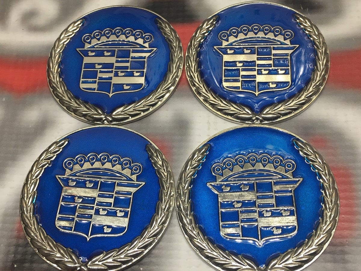 Image of Candy blue & chrome Cadillac chip emblems (4)