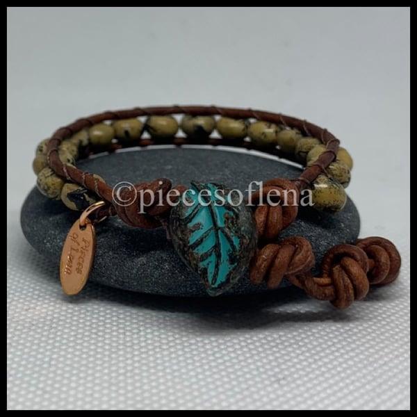 Image of SINGLE WRAP BRACELET - Jasper Leaf