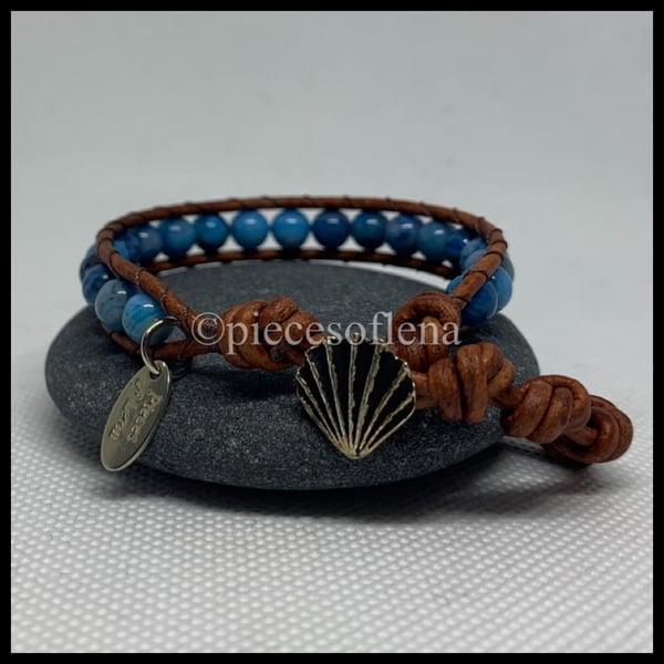 Image of SINGLE WRAP BRACELET - Blue Lace Agate Shell