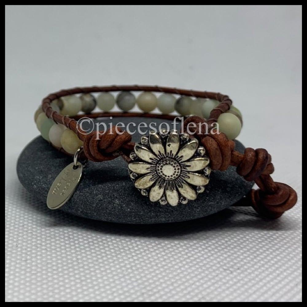 Image of SINGLE WRAP BRACELET - Amazonite Sunflower