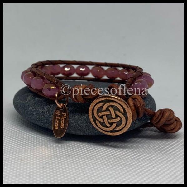 Image of SINGLE WRAP BRACELET, Rose Gold Celtic
