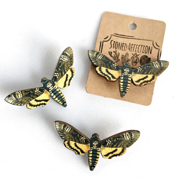 Image of Death's-Head Hawkmoth Wooden Brooch Pin
