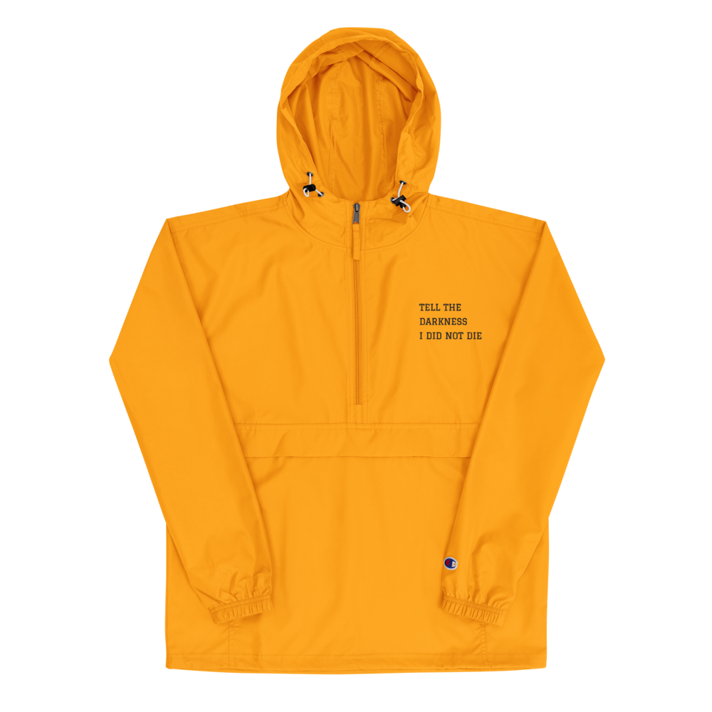 Image of Yellow zip pullover packable jacket