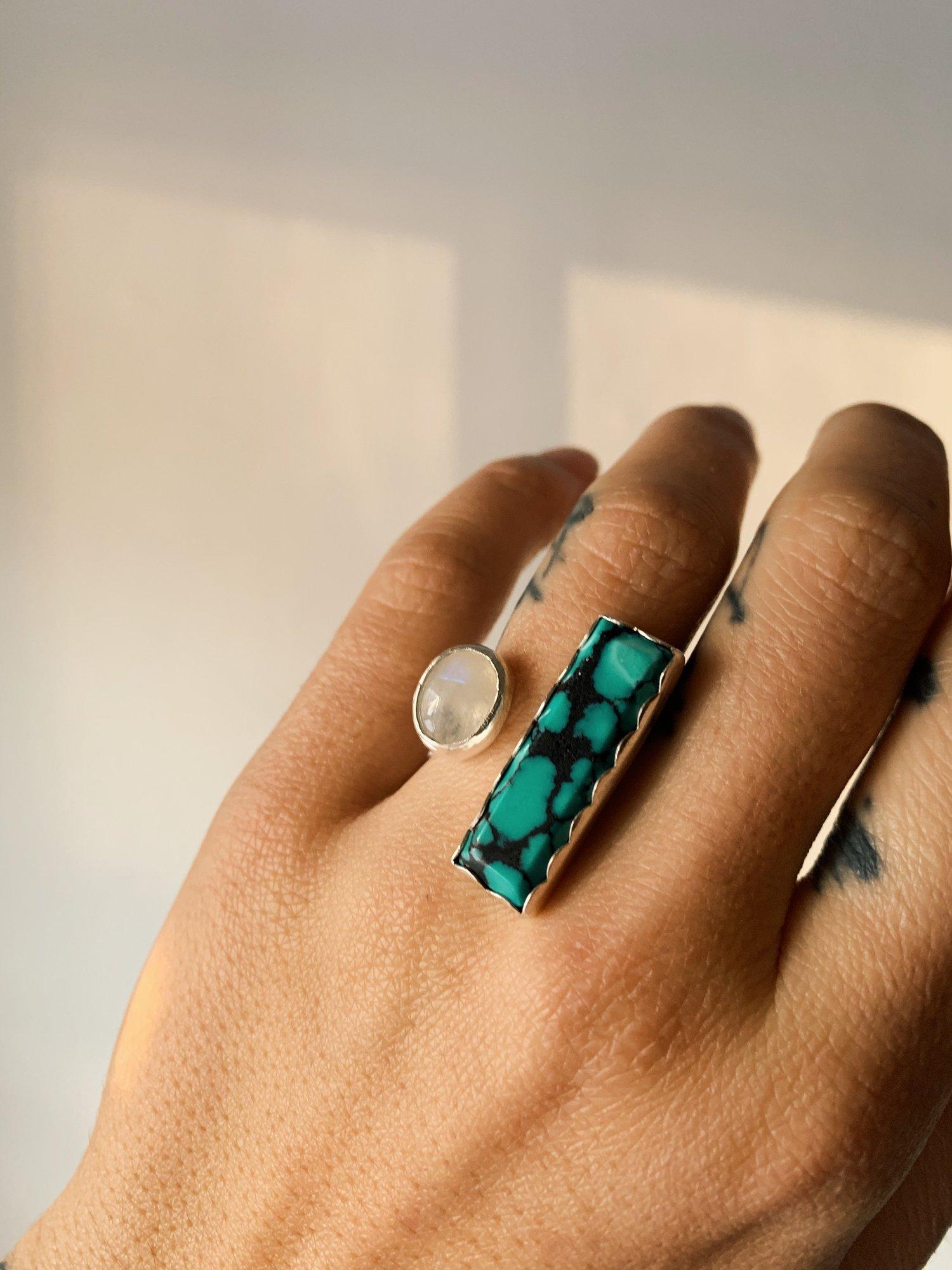 Image of Turquoise + Moonstone Double Bezel