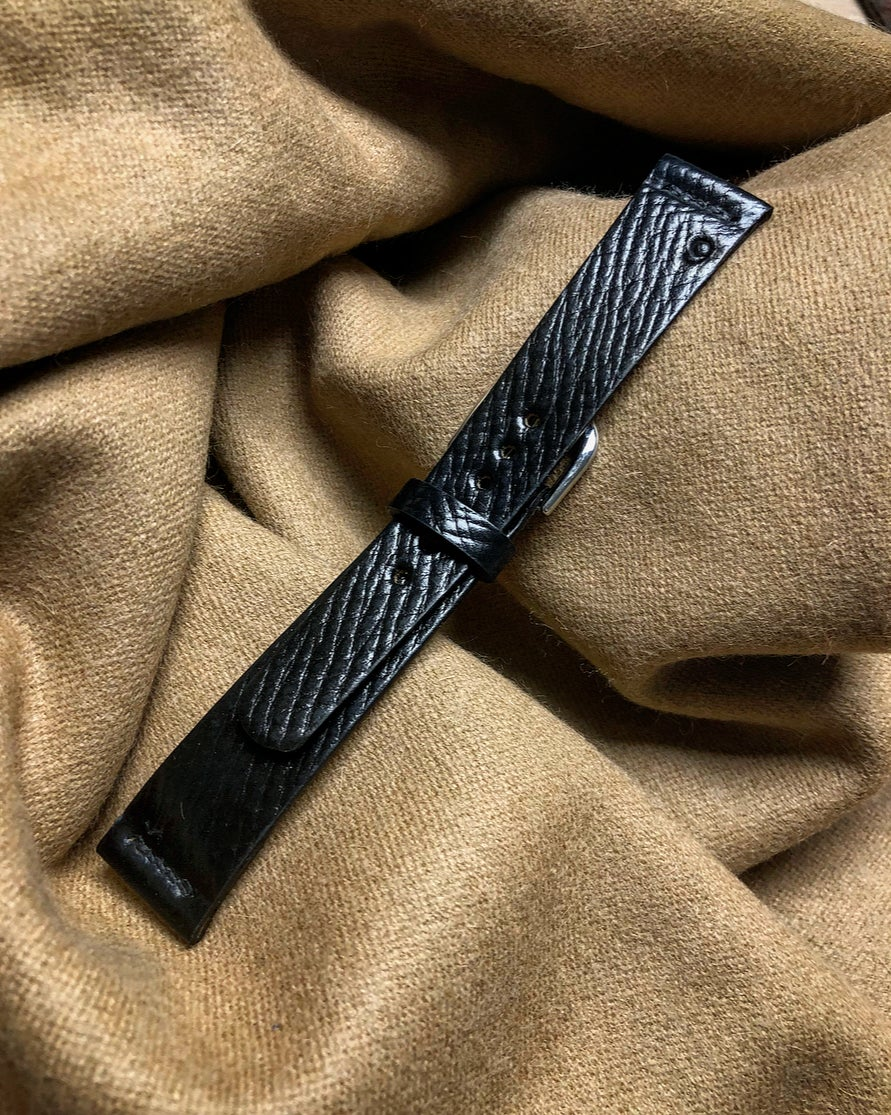 """Image of Black Horween Shell Cordovan """"Russian Grain"""" watch strap"""