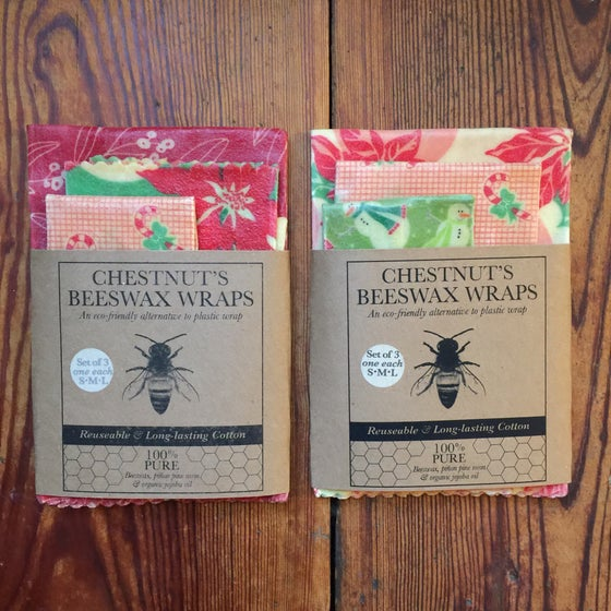 Image of Holiday-themed  Beeswax Food Wraps - Set of 3