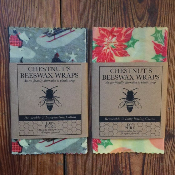 Image of Holiday-themed Beeswax Food Wraps - Set of 3 SMALL