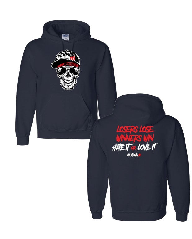 Image of Memphis 10 Big Skull With Quote Hoodie - Black