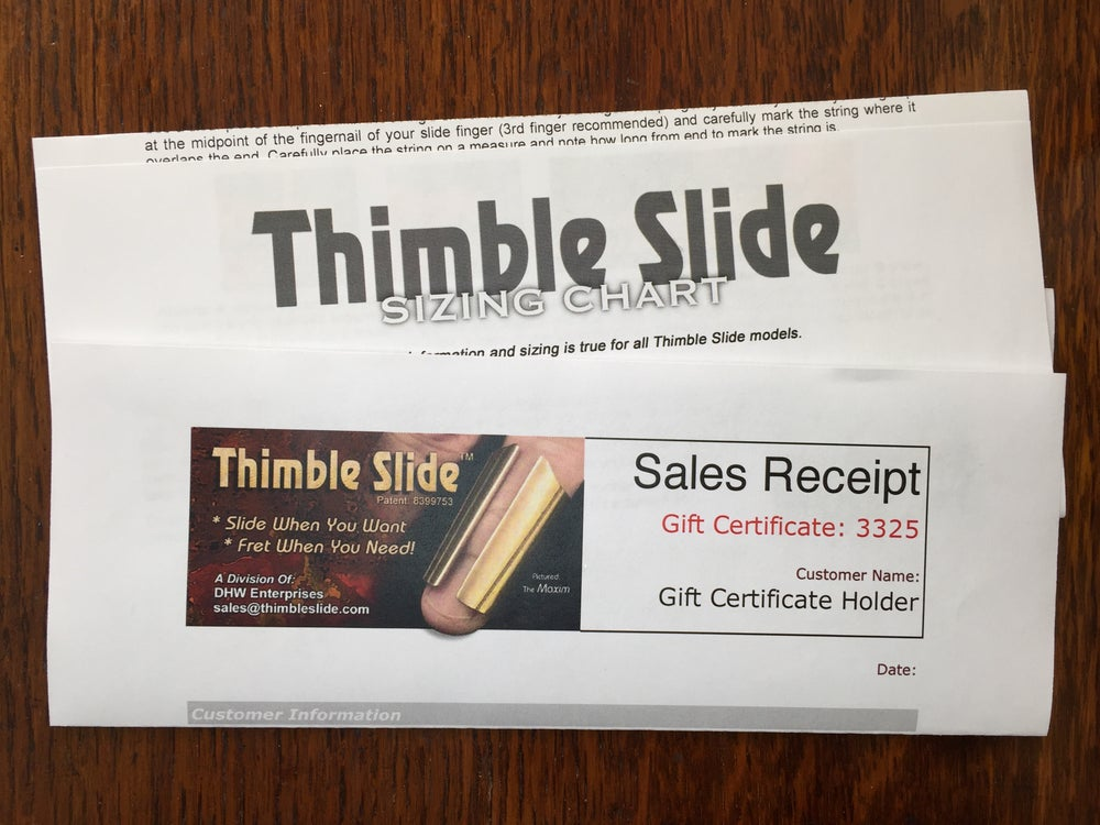 Image of Gift Certificate For Thimble Slide: Maxim