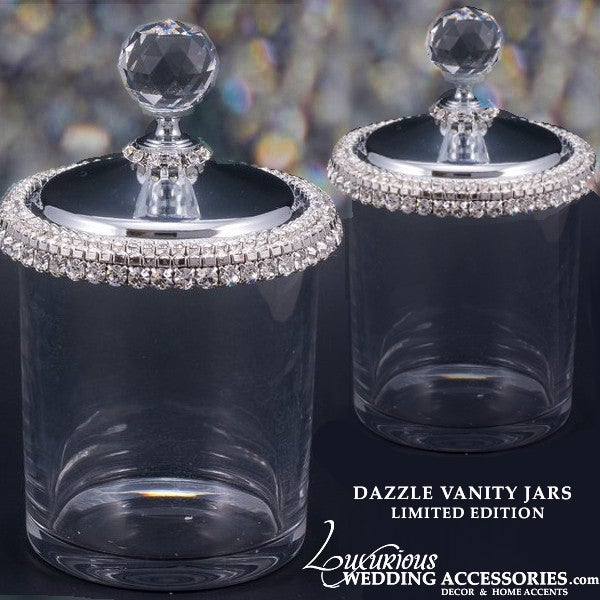 Image of Dazzle Swarovski Crystal Vanity Jar & Q-Tip Holder