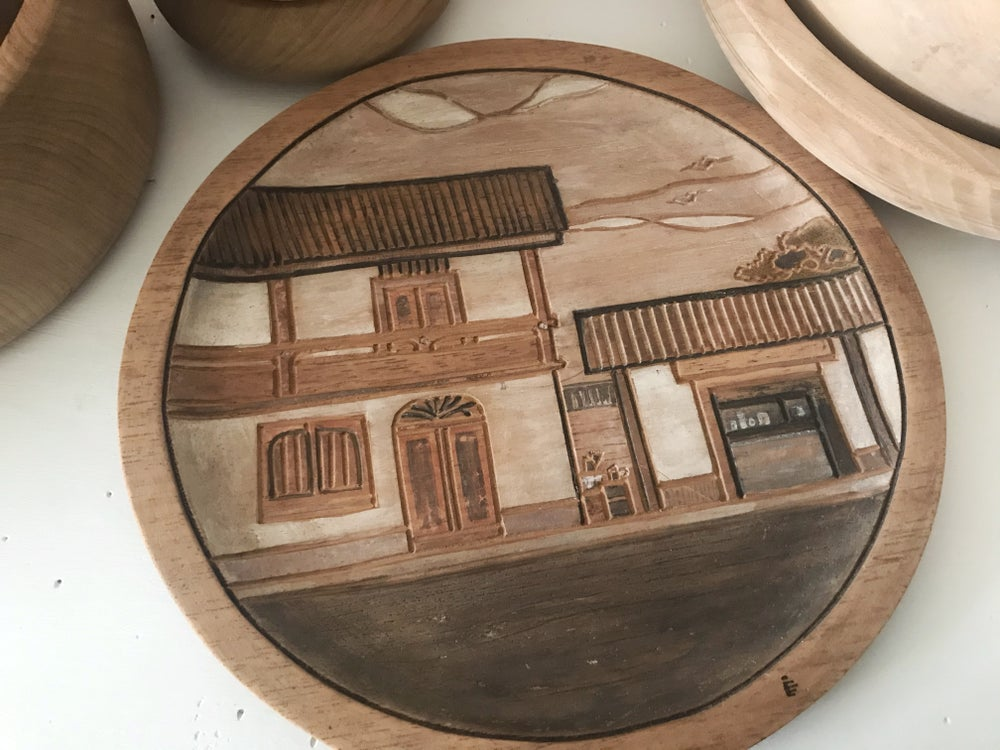 Image of Round Teak Carved Plate