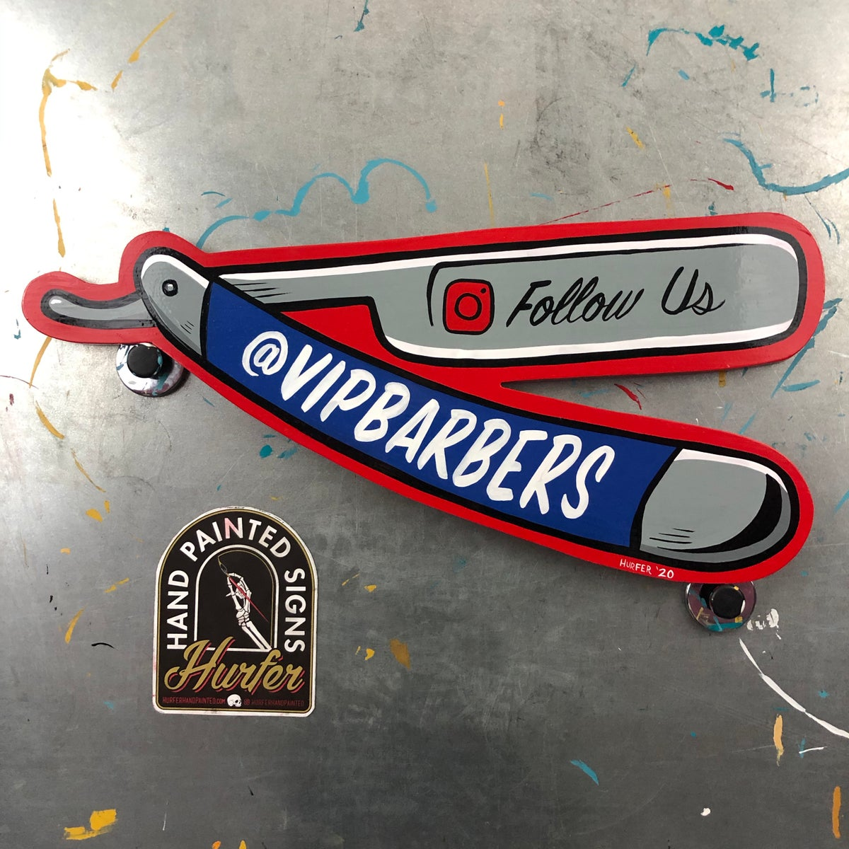 Image of Follow me on Instagram straight razor. Hand painted wood cut out.