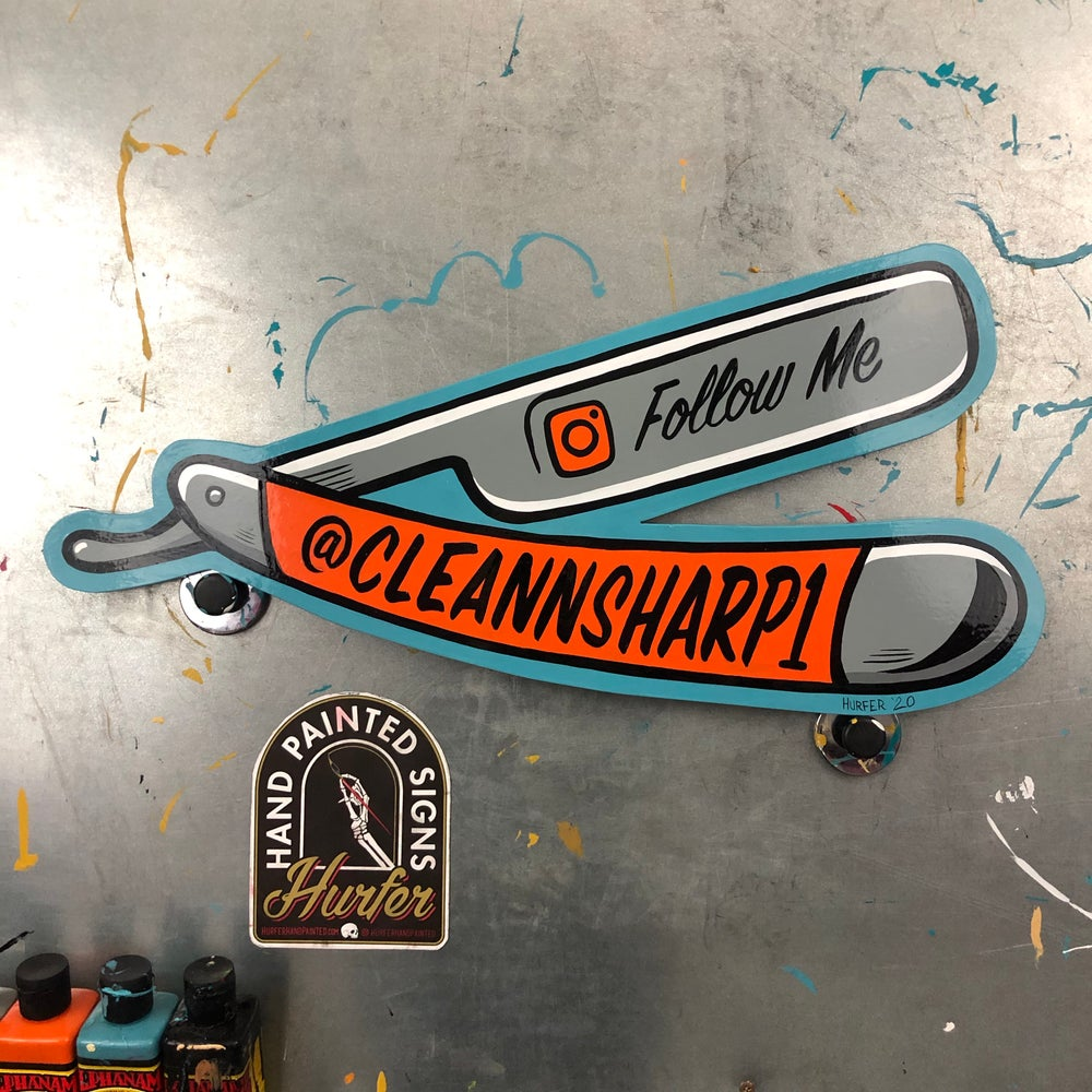 Follow me on Instagram straight razor. Hand painted wood cut out.
