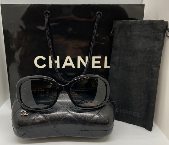 Image of Chanel Black Bow Sunglasses