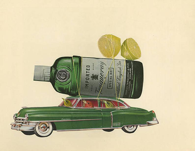 Image of Preferred summer beverage of the tanager. Limited edition collage print.