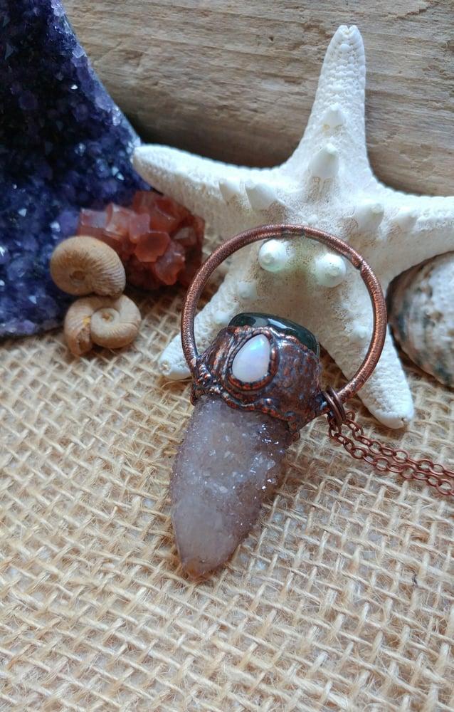 Image of Cactus Quartz + Labradorite + Rainbow Moonstone Pendant