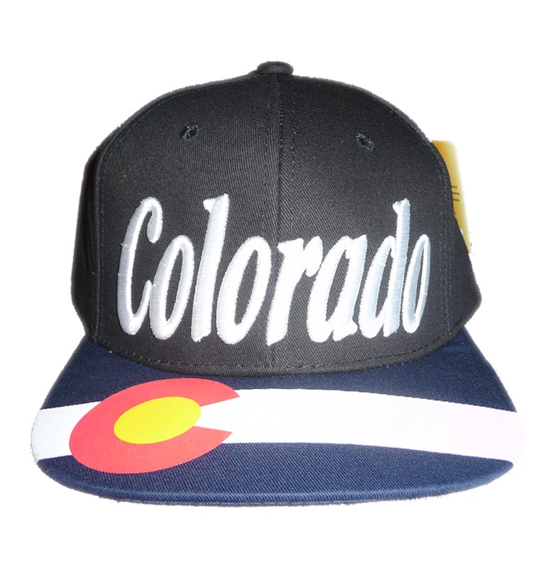 Image of COLORADO STATE SNAPBACK HAT BLACK WITH EMBROIDERED FRONT AND PRINTED BRIM