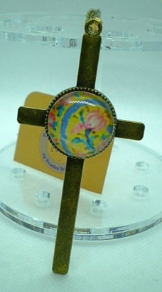 Floral Resin Cross Necklace