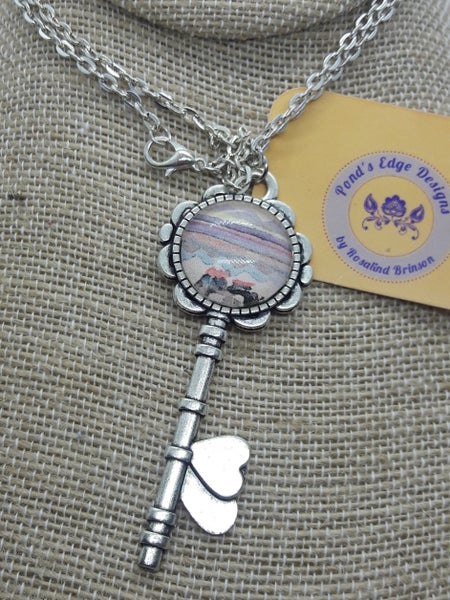 Image of Sunset Heart Key Necklace