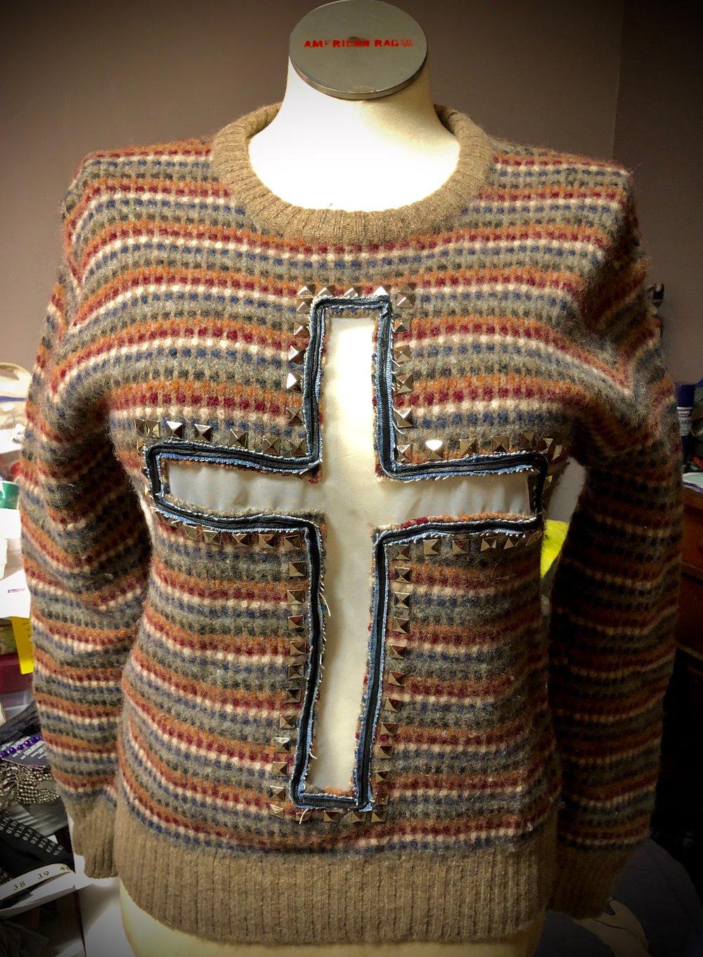 Crucifix repurposed vintage sweater