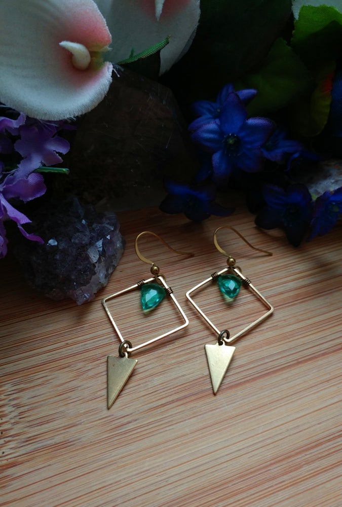 Image of Geometric Emerald Hydro Quartz Earrings