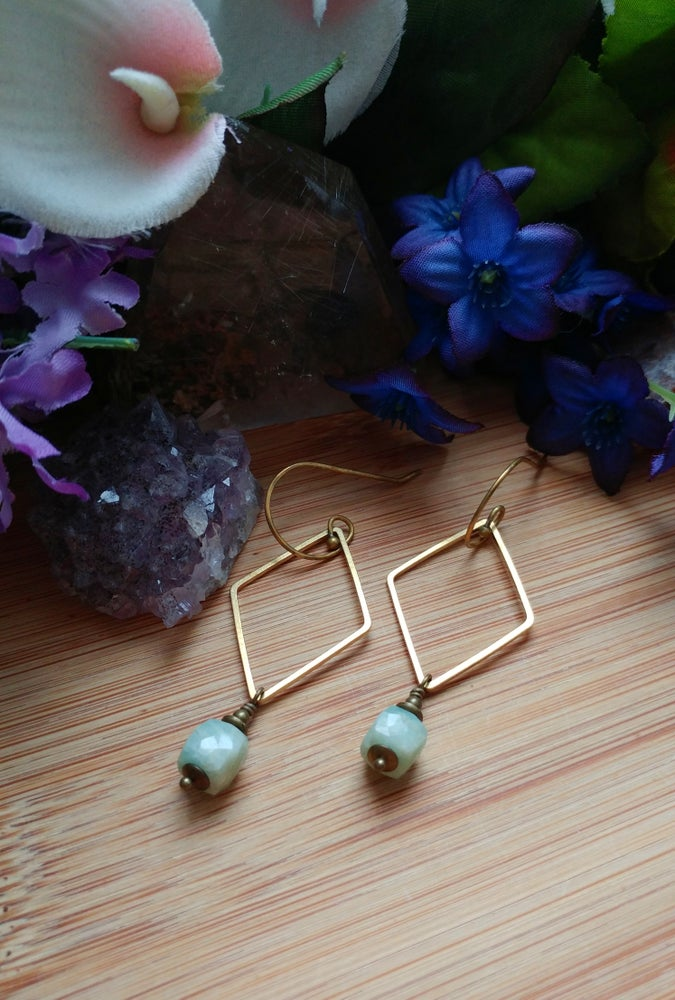 Image of Geometric Brass + Amazonite Earrings