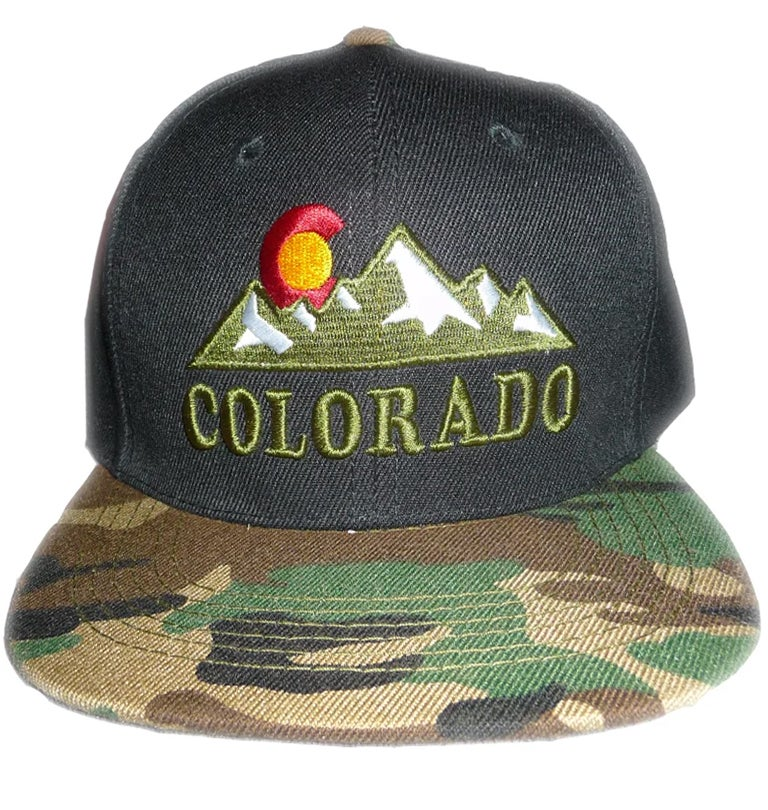 Image of COLORADO STATE ROCKY MOUNTAIN CAMO BRIM GREEN AND BLACK HAT