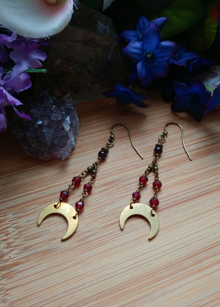 Image of Brass Moon + Garnet Earrings