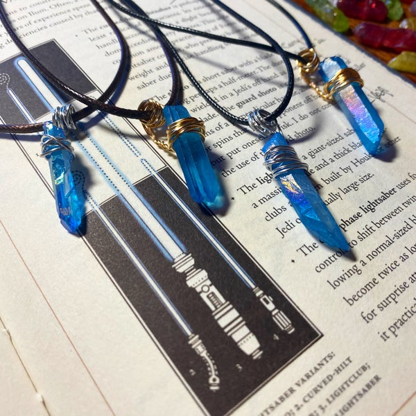 Image of Jedi Rogue Kyber Pendant in Blue