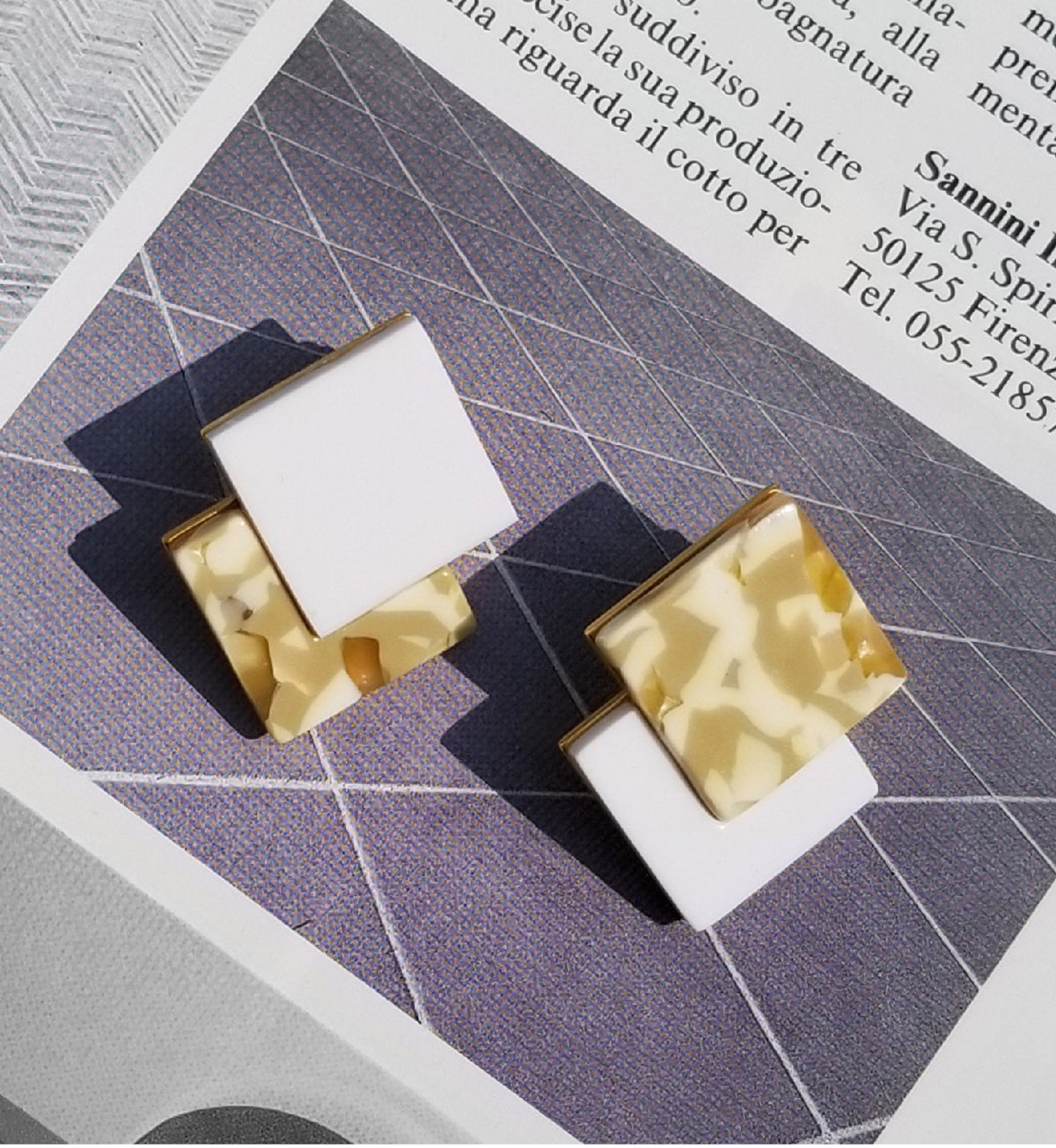 Image of Double Diamond Earrings - Marbled
