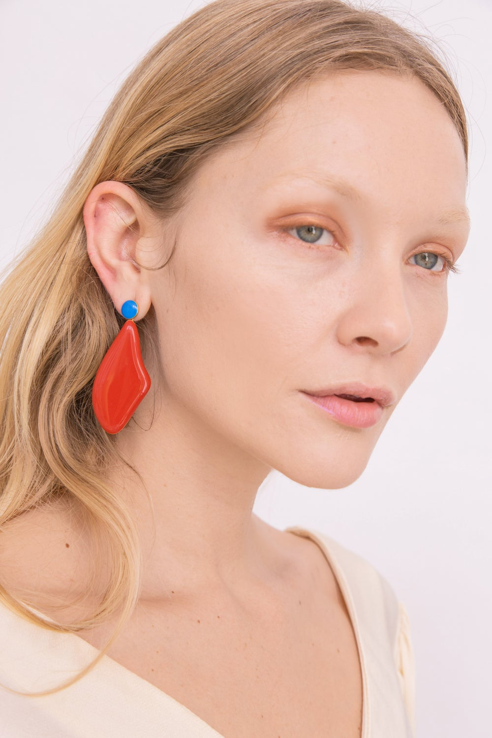 Red Lima Earrings - Enamel