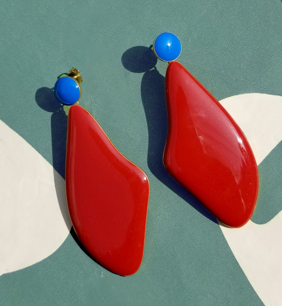Image of Red Lima Earrings - Enamel