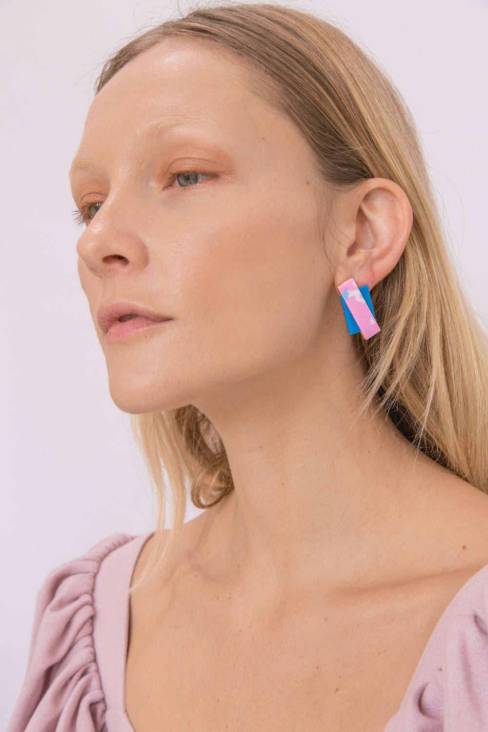 Double Rec earrings - Pink