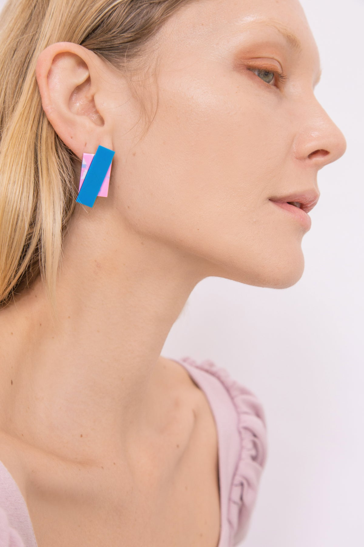 Image of Double Rec earrings - Pink